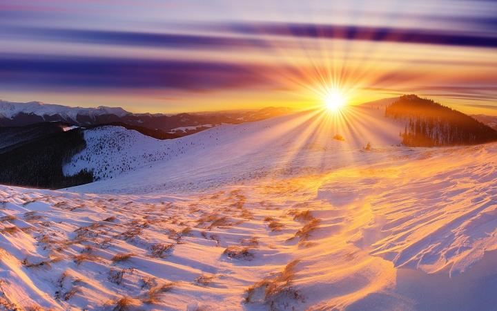 Sunset snow hills WP