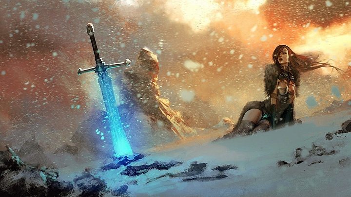 Woman sword snow storm fantasy WP
