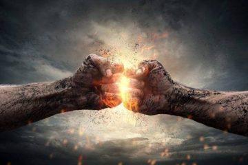Fighting fists fire digital art hand AnteAr